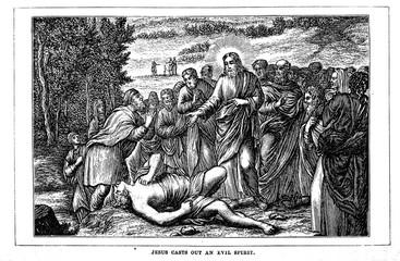 Jesus casts out an evil spirit