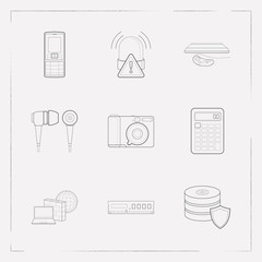 Set of electronic icons line style symbols with data protection, calculator, old mobile phone and other icons for your web mobile app logo design.