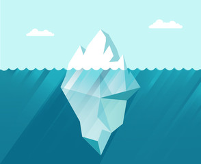 iceberg in the sea business concept in flat style