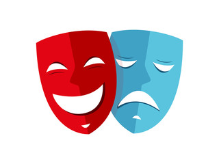 Happy and sad mask theater icon vector
