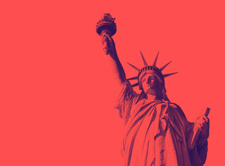 Bottom view of the famous Statue of Liberty, icon of freedom and of the United States. Red duotone effect Wall mural