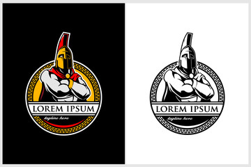 Spartan or Trojan Warrior colored vector logo template