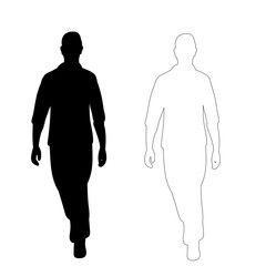 vector on white background young man walking black silhouette