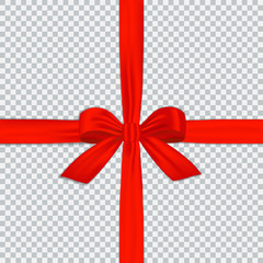 Red gift ribbon with bow isolated on transparent background. Vector decoration element for your design.