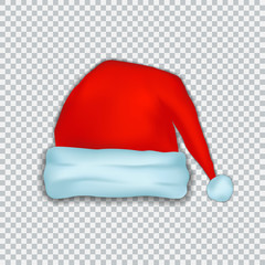Santa Claus Christmas hat. New Year Red hat isolated on transparent background. Vector design illustration.