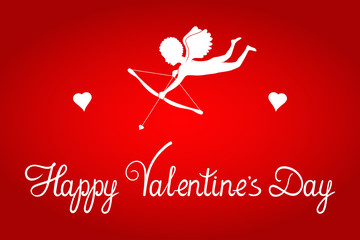 Valentine's Day greeting card. Cupid with bow, arrow and heart. Original script letters. Vector design background.