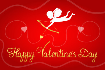 Valentine's Day greeting card. Cupid with golden bow, arrow and heart. Original gold script letters. Vector design background.