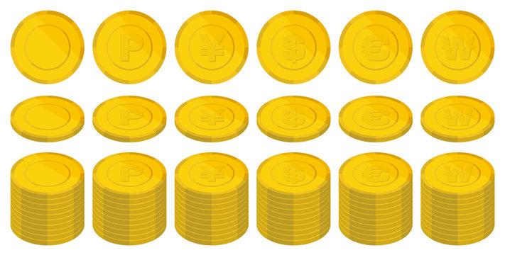 色々な国のコインのイラスト