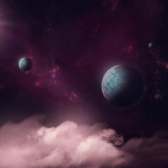 Surreal illustration, fantasy world with planets foating over clouds at night