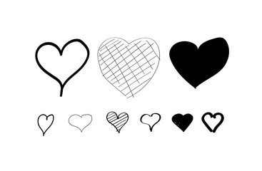 Heart hand drawn icons set. Isolated on white background. Hearts for web site, poster, wallpaper and Valentine's day. Collection of hearts, creative art, modern concept.