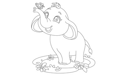 Cute baby elephant and butterfly drawing to color