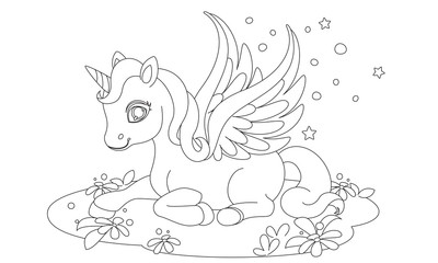 Cute baby unicorn fantasy drawing to color