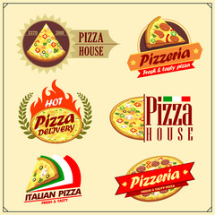 Set of pizza labels, badges, icons and design elements. Emblems for pizzeria.