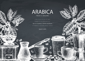 Vector design with ink hand drawn coffee illustrations. Arabica plant with leaves and fruits sketch.  Vintage template for cafe or shop on chalkboard