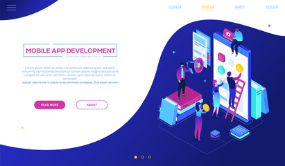 Mobile app development - modern colorful isometric vector web banner