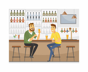 Friends at the pub - cartoon people characters illustration