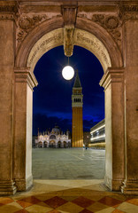 Night view of Basilica di San Marco and Campanile on piazza San Marco in Venice, Italy. Architecture and landmark of Venice. Night cityscape of Venice.