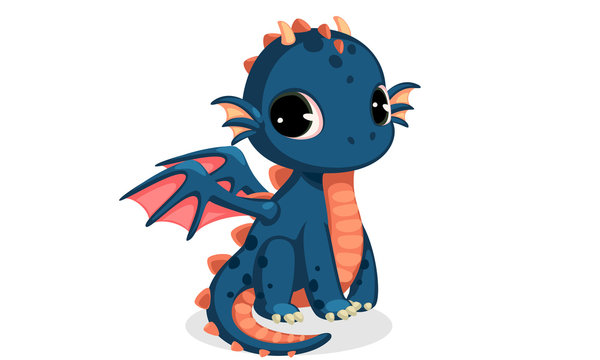 Cute dark blue baby dragon