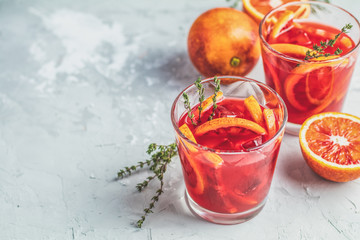 Campari or alcohol cocktail with Sliced Sicilian Blood oranges