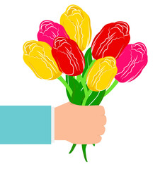 vector illustration hand with a bouquet of flowers