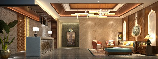 3d render asian style hotel lobby reception