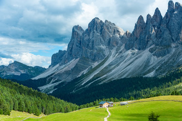 Autumn Geisler or Odle mountain Dolomites Group, Val di Funes, tourist region of Italy
