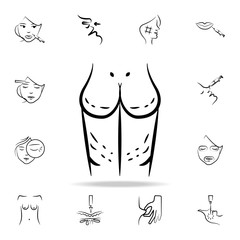 surgical marks on the body icon. Detailed set of anti-aging procedure icons. Premium graphic design. One of the collection icons for websites, web design, mobile app