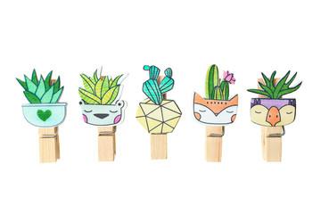 Set of cute cartoon kawaii cactus