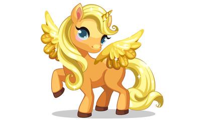 Estores personalizados infantiles con tu foto Cute little golden unicorn with golden wings in standing pose vector