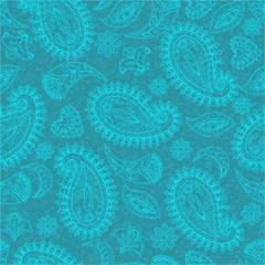 Seamless pattern, flower motive, folk art, hand drawn, green background, multi-colored, vector illustration