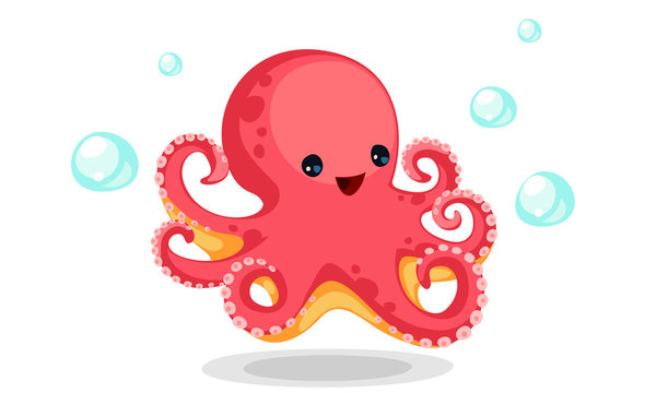 Cute red octopus cartoon