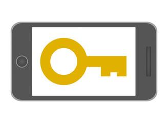 スマートフォンの画面に映る鍵マーク