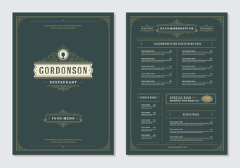 Restaurant menu design and logo vector brochure template.