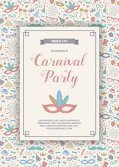 Carnival Party - colorful invitation with hand drawn decorations. Vector