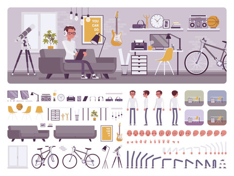 Freelancer boy room interior, home office design creation set