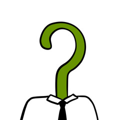 Green question head of businessman boss or manager hand drawn illustration