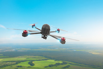 Drone quad copter with high resolution digital camera on the sky, flies over the terrain.