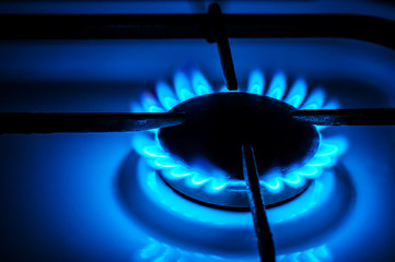 gas stove with blue flame