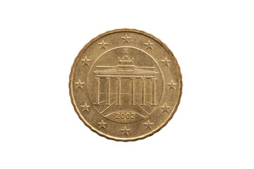 Reverse of a ten cent euro coin of Germany dated 2002 showing the Brandenburg Gate of Berlin cut out and isolated on a white background