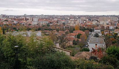 the cityscape of french city Toulouse in december