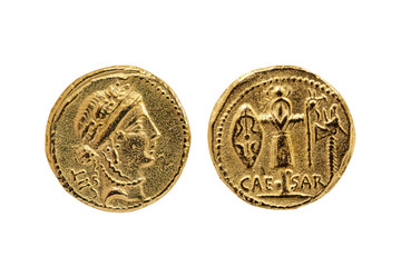 Roman Aureus Gold Coin replica of Julius Caesar with a probable portrait of the goddess Venus and a Trophy of Gallic Arms on the reverse struck between 48-47 BC cut out and isolated white background