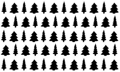Fir trees in silhouette pattern seamless