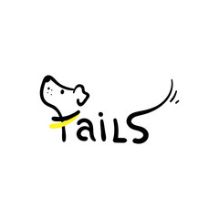 Vector illustration. Cute Tails Logo.