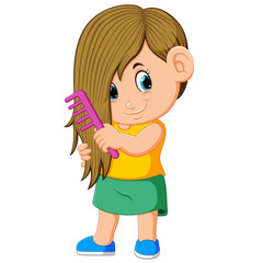 the girl is combing her hair with the pink comb