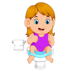 A girl using toilet