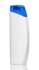 White shampoo bottle with blue cap on white background