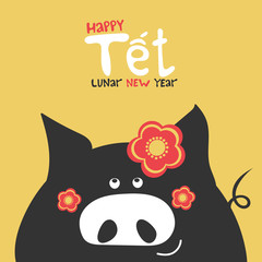 Tet - happy lunar new year, Vietnam holiday greeting card. 2019 chinese new year banner design. Cute cartoon vietnamese black pig with red plum blossom flowers. Spring season yellow background.