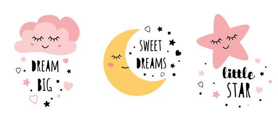 Vector pink sleepy moon star cloud kids designs Childish style pink color