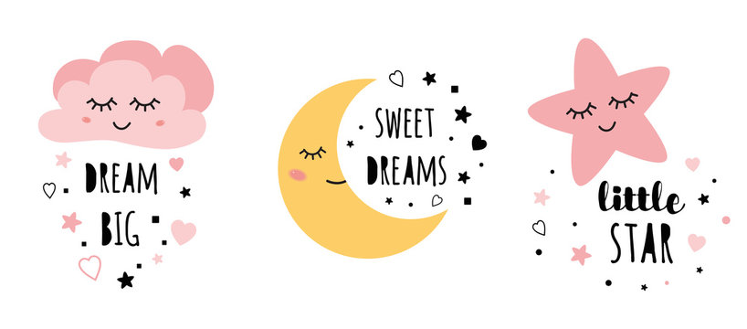 Vector pink sleepy moon star cloud kids designs Childish style pink color