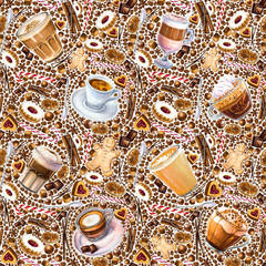 Seamless pattern with different coffee drinks and sweets on white background. Illustration of latte,  flat white and  Latte Macchiato, cookies and candy. Hand-drawn by markers, watercolor.